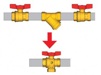 Výhoda kulového kohoutu R701F je v místech, kde nemáte prostor pro 3 komponenty viz obrázek.